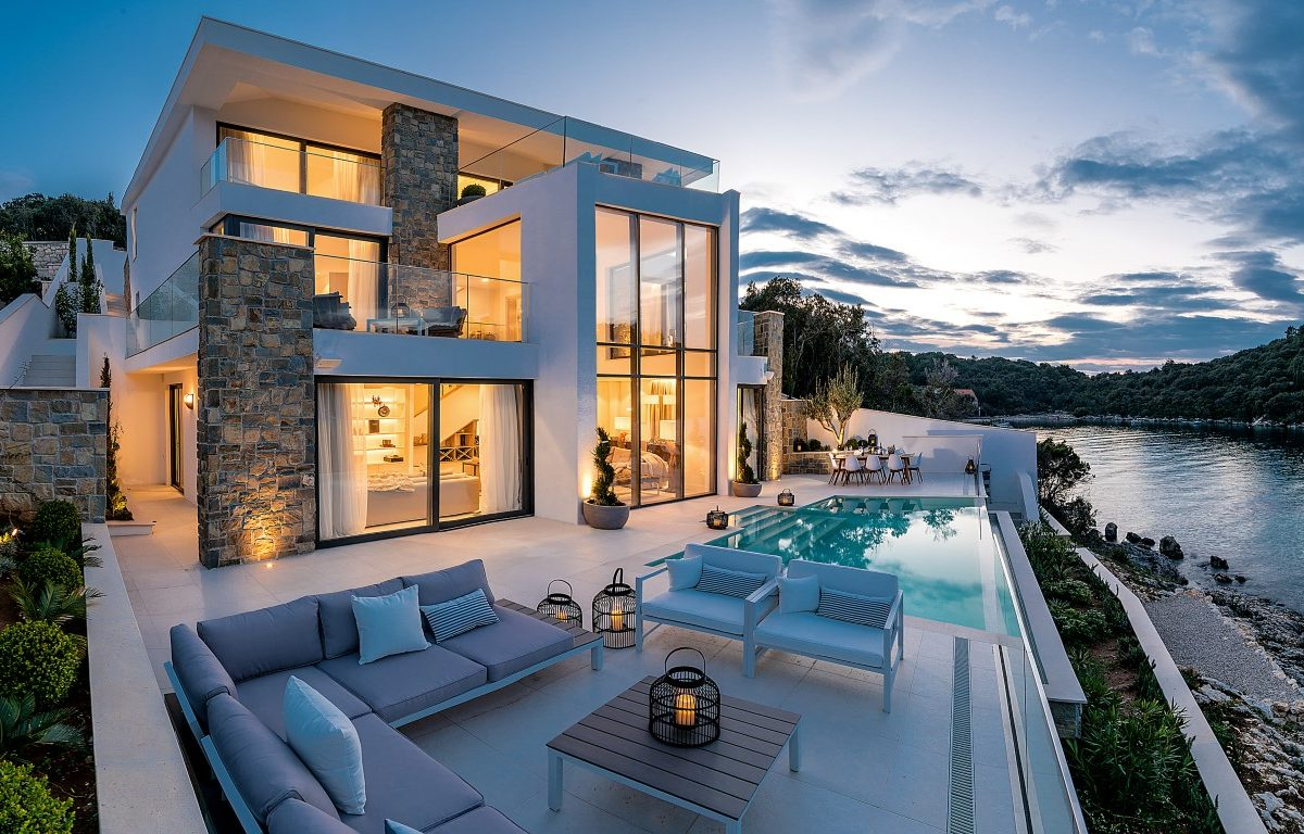 Luxury villa with pool and private beach, Korcula island